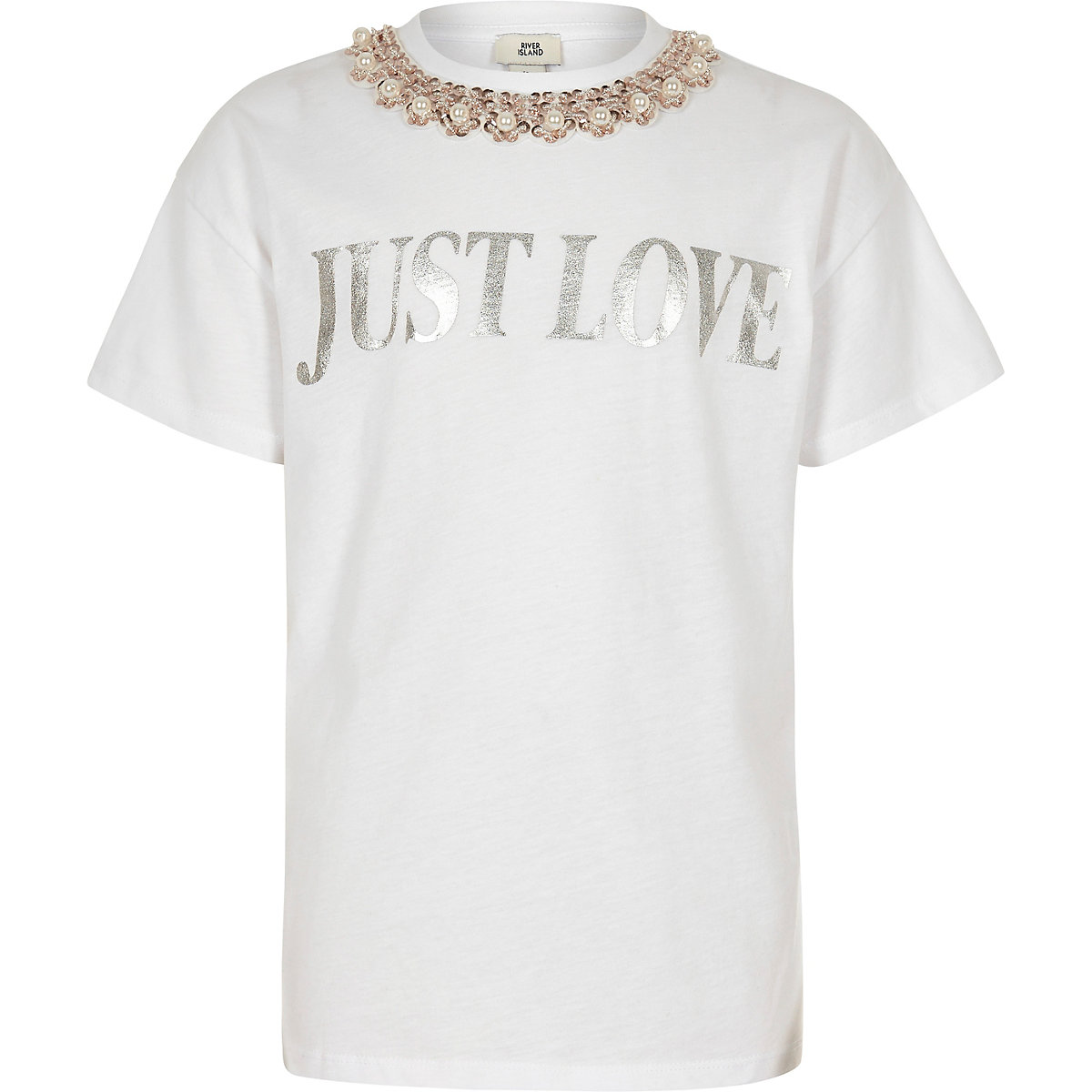 Girls white 'just love' T-shirt