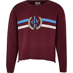Girls red stripe 'love' print sweatshirt