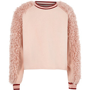 Girls pink faux fur panel sweat sweater