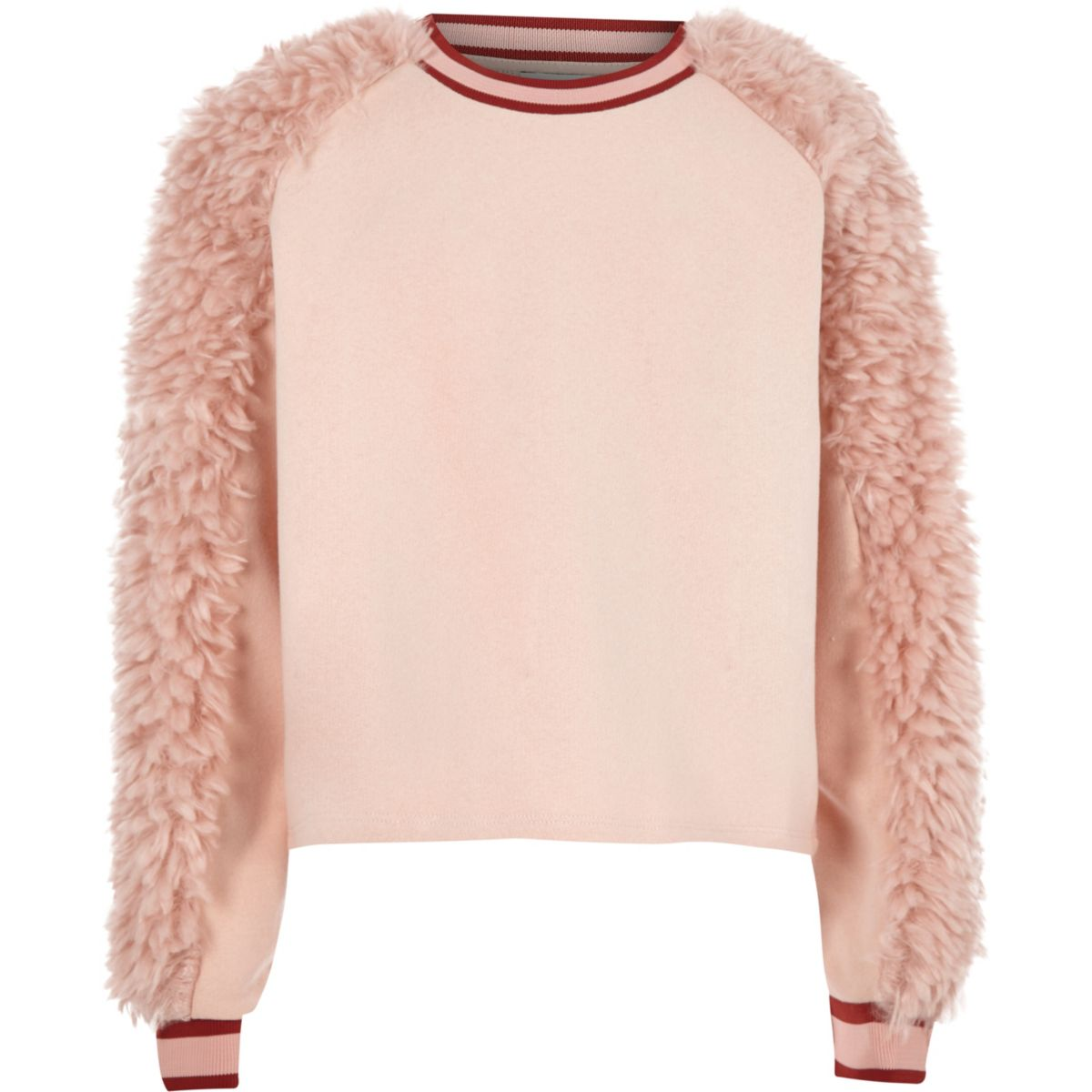 Girls pink faux fur panel sweat jumper