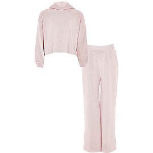 Ensemble pantalon de jogging et sweat à capuche en velours rose fille