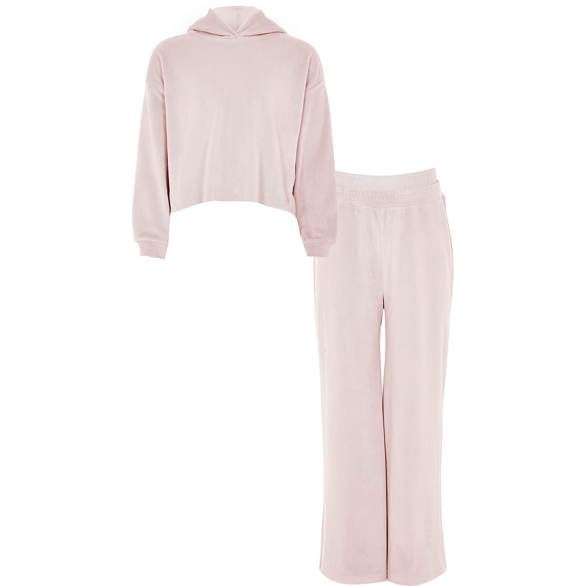 Girls pink velour hoodie and jogger outfit