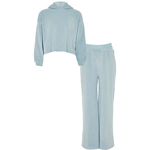 Girls light blue velour jogger outfit