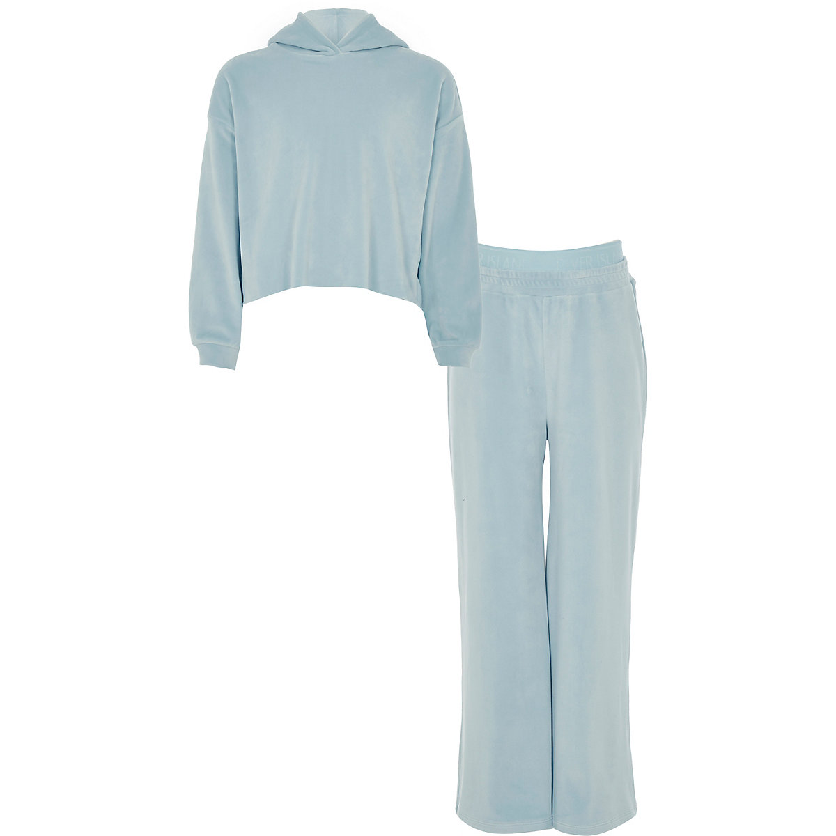 Girls light blue velour jogger outfit