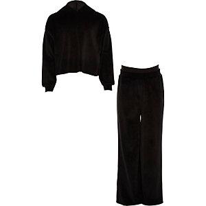 Zwarte joggingoutfit van velours voor meisjes