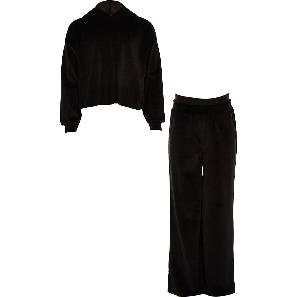 Girls black velour jogger outfit