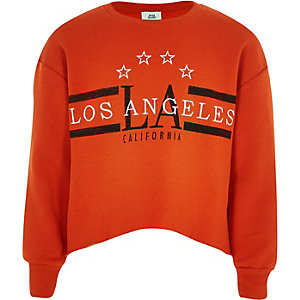 Girls orange 'Los Angeles' crop sweatshirt