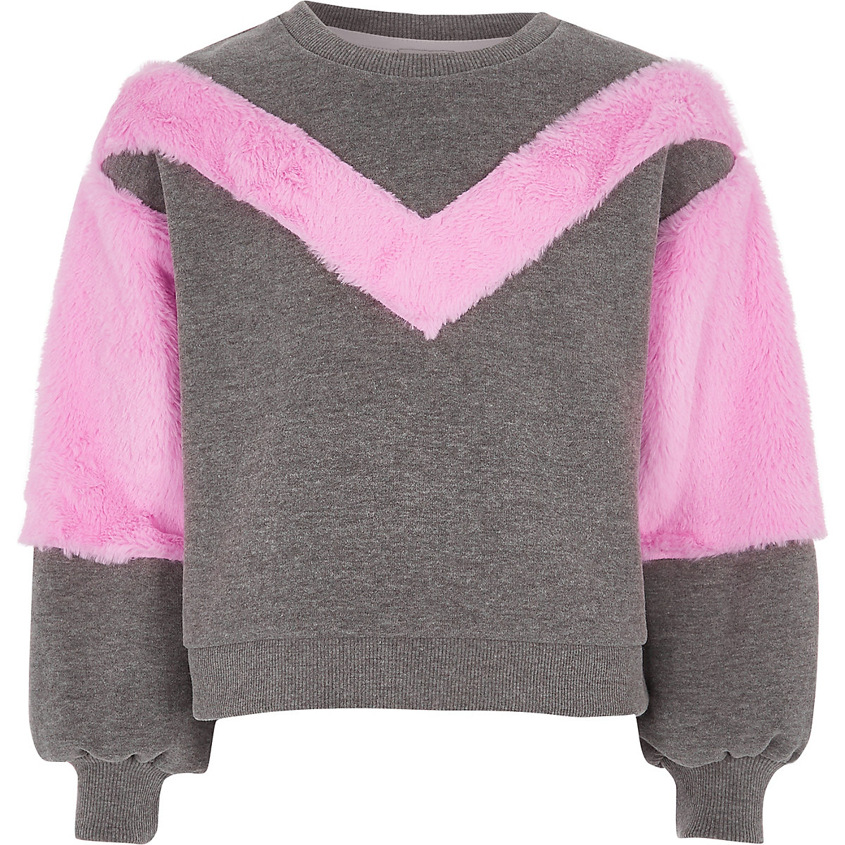 Girls grey faux fur trim sweatshirt