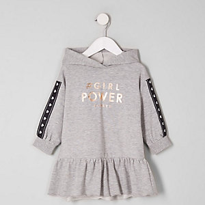 Robe pull grise « Power » mini fille