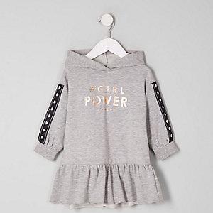 Mini - Grijze sweaterjurk met 'power'-print voor meisjes