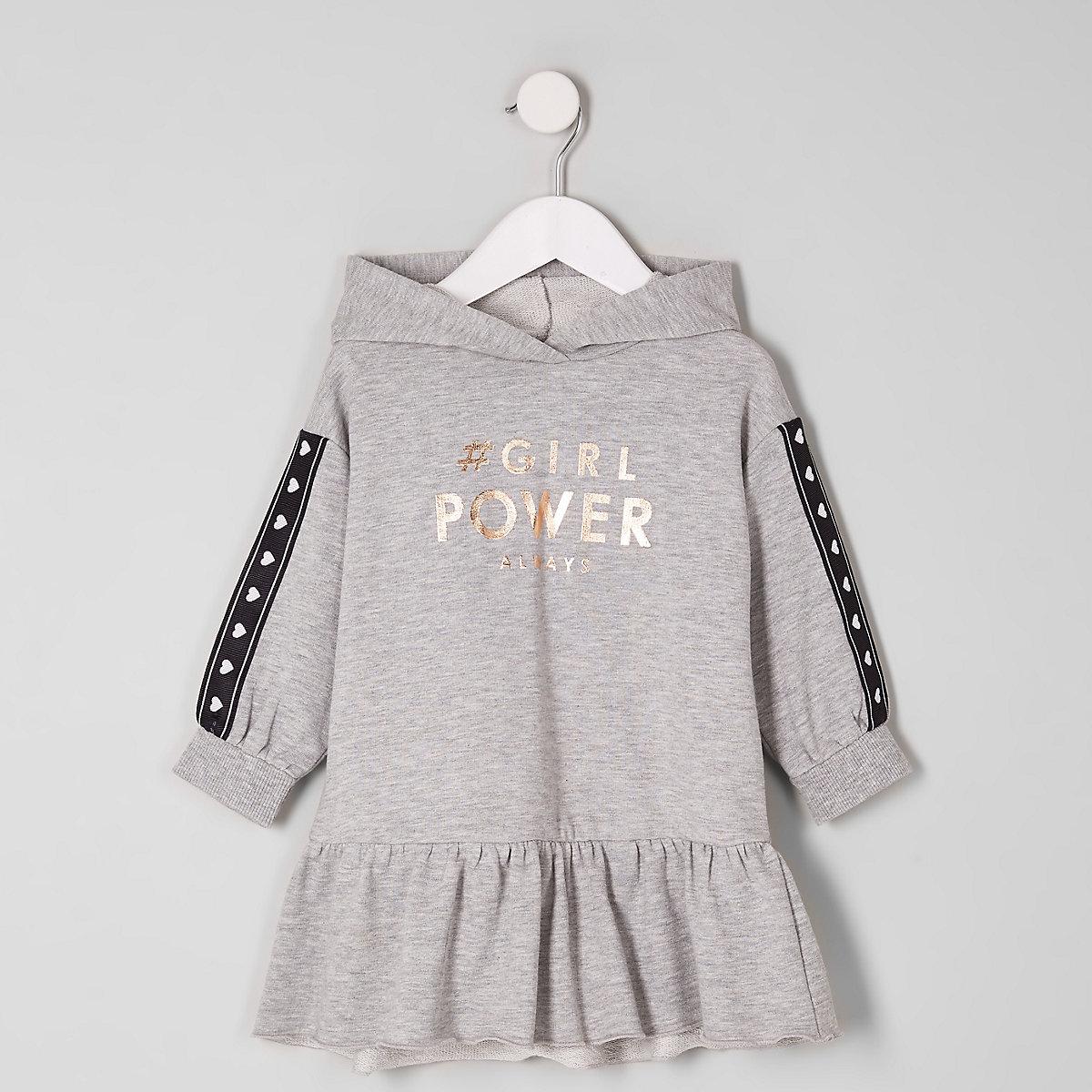 Mini girls grey 'power' sweat dress