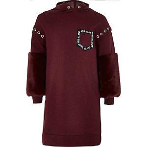 Girls dark red faux fur sleeve hoodie dress