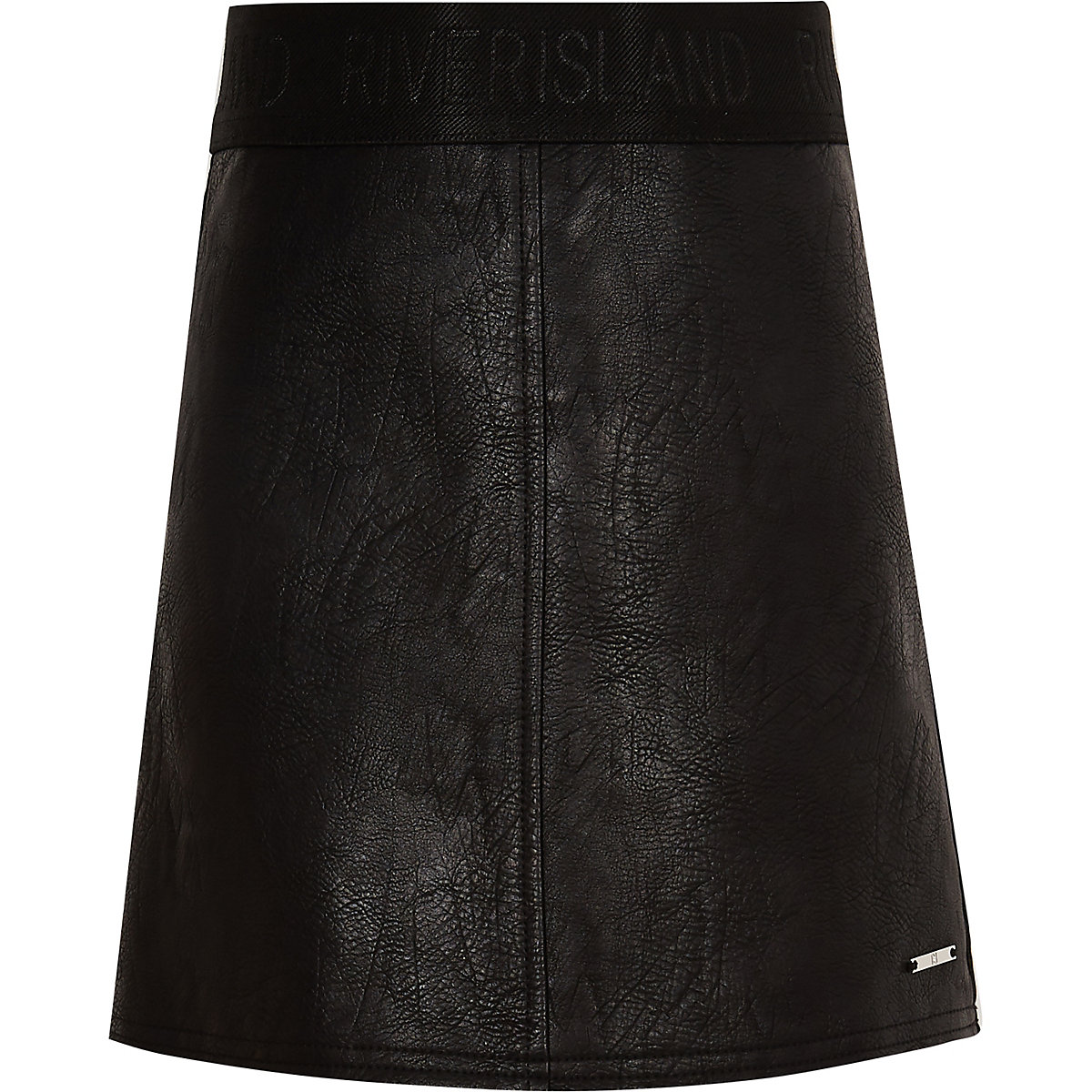 Girls black faux leather A line skirt
