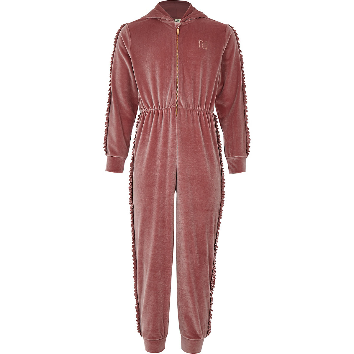 Girls pink velvet hooded onesie