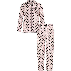 Girls pink spot print pyjama set
