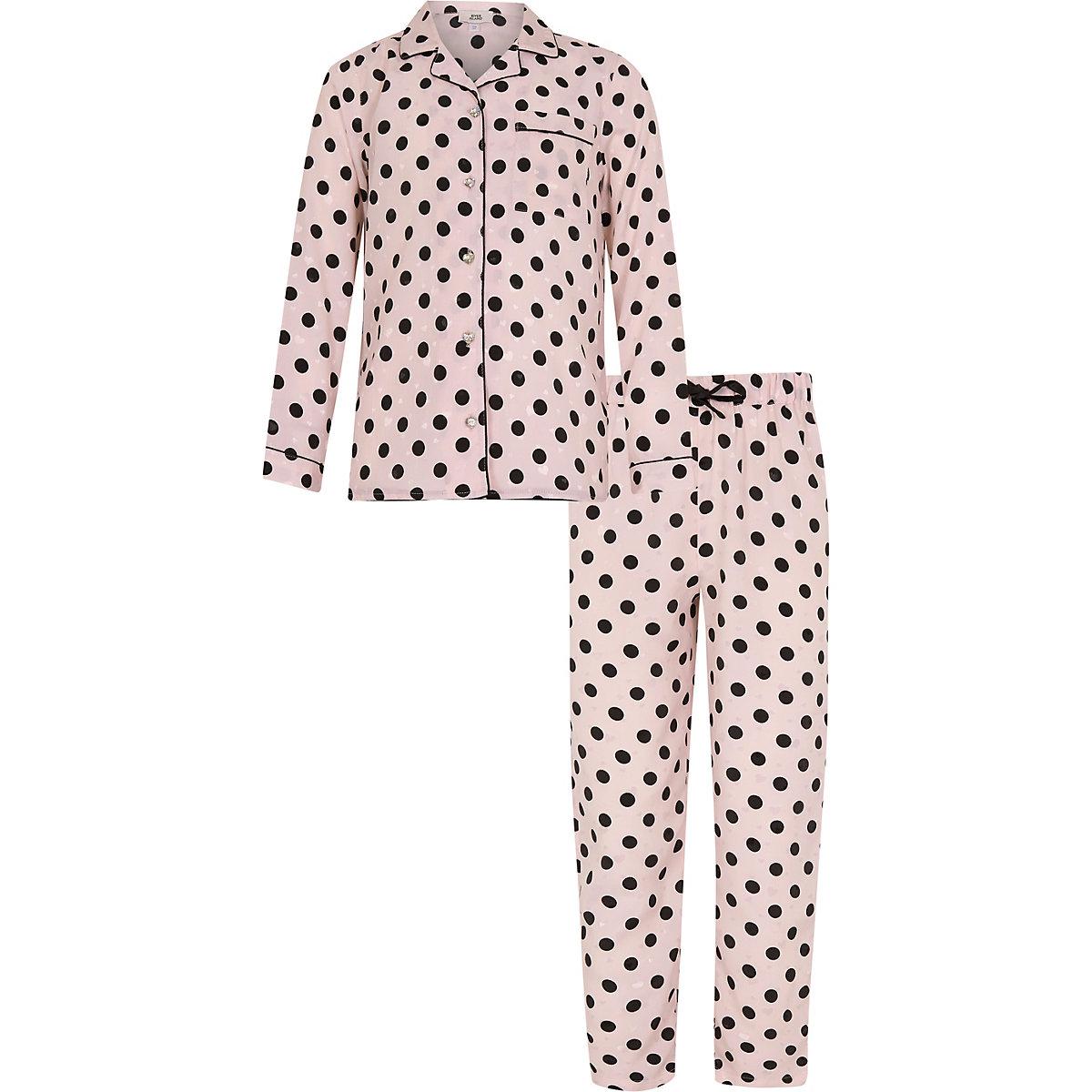 Girls pink spot print pyjama set