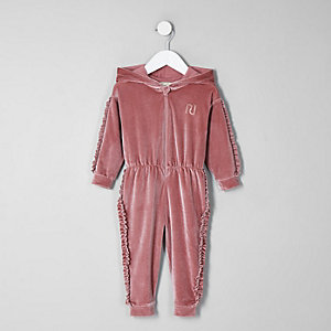 Mini girls pink velvet hooded onesie