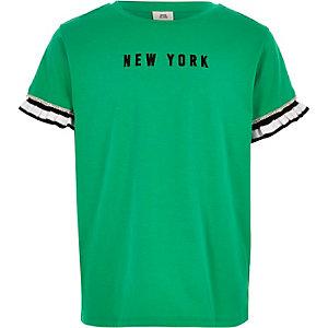 """Grünes T-Shirt """"New York"""" mit Rüschenärmeln"""
