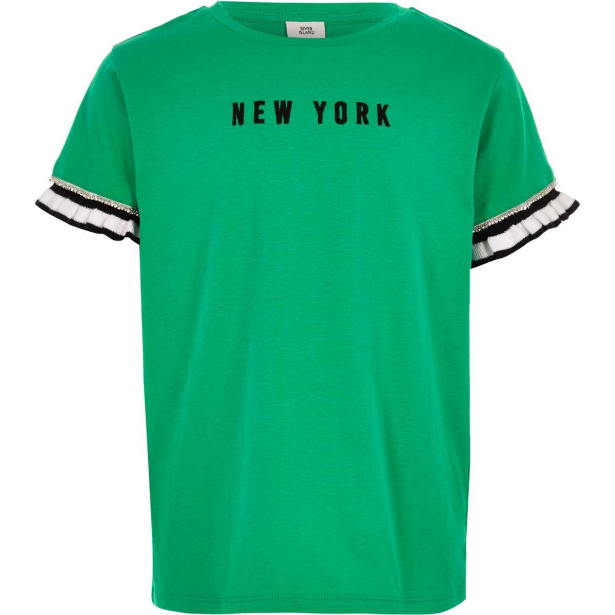 Girls green 'New York' frill sleeve T-shirt