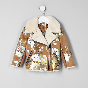 Mini girls brown floral biker jacket