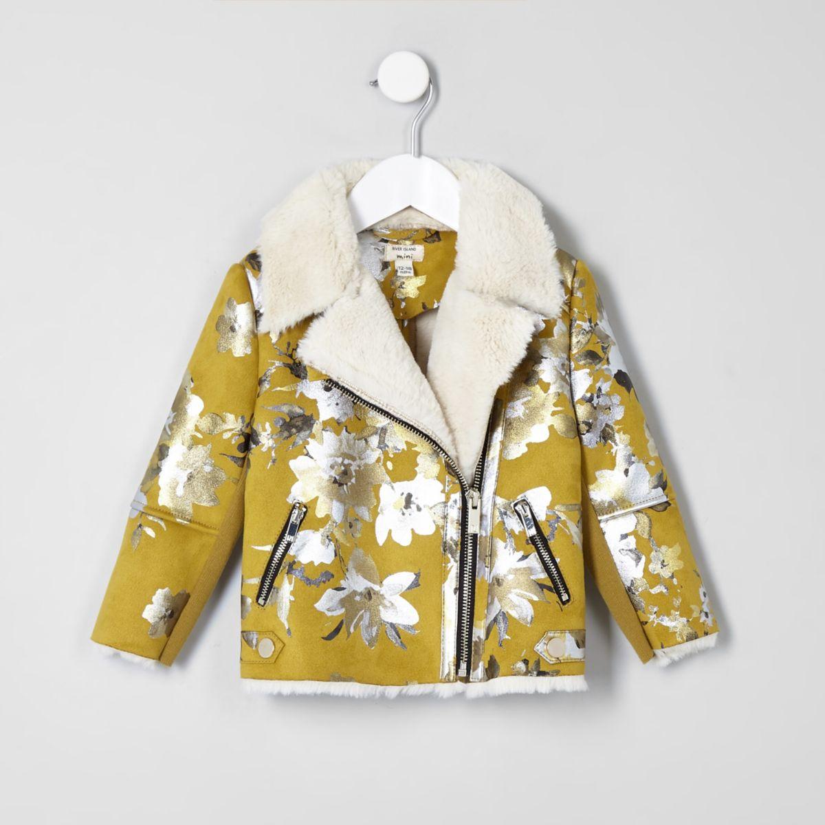 Mini girls yellow floral biker jacket