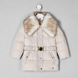 Mantel mit Gürtel und Kunstfellbesatz
