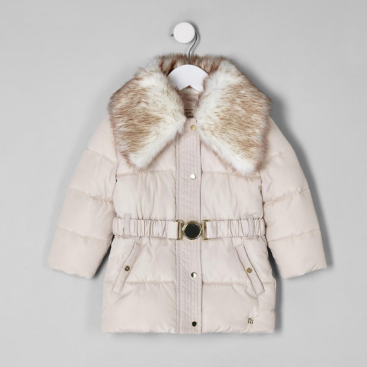 Mini girls faux fur collar belted coat
