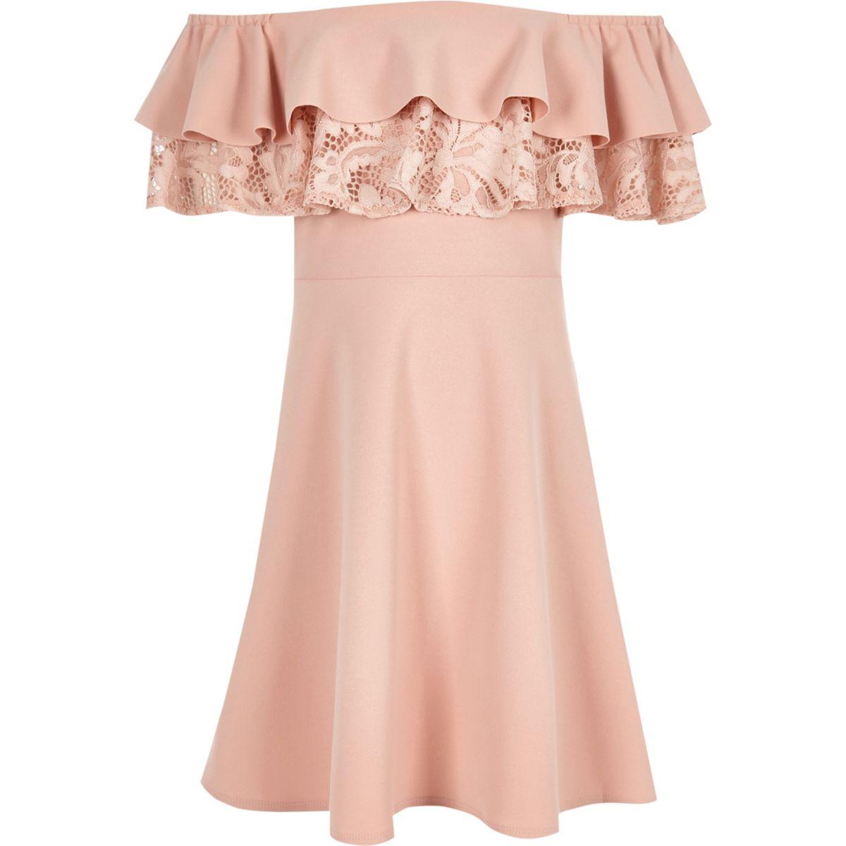 Pinkes Bardot-Kleid aus Spitze