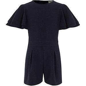 Combi-short bleu marine avec manches à volants pour fille