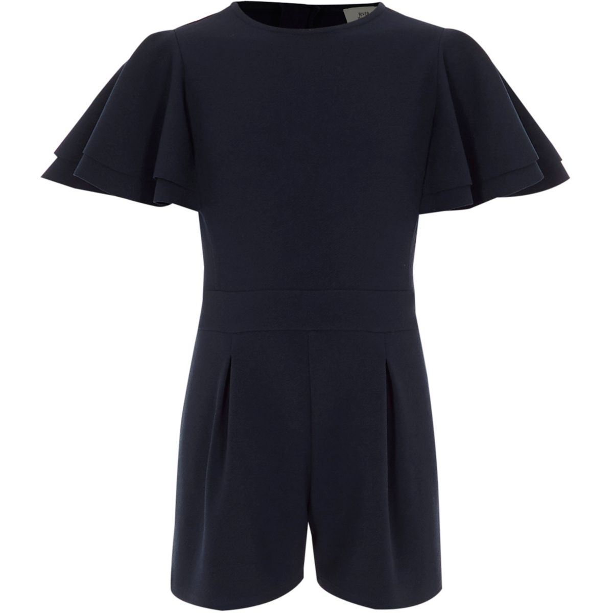 Girls navy frill sleeve playsuit