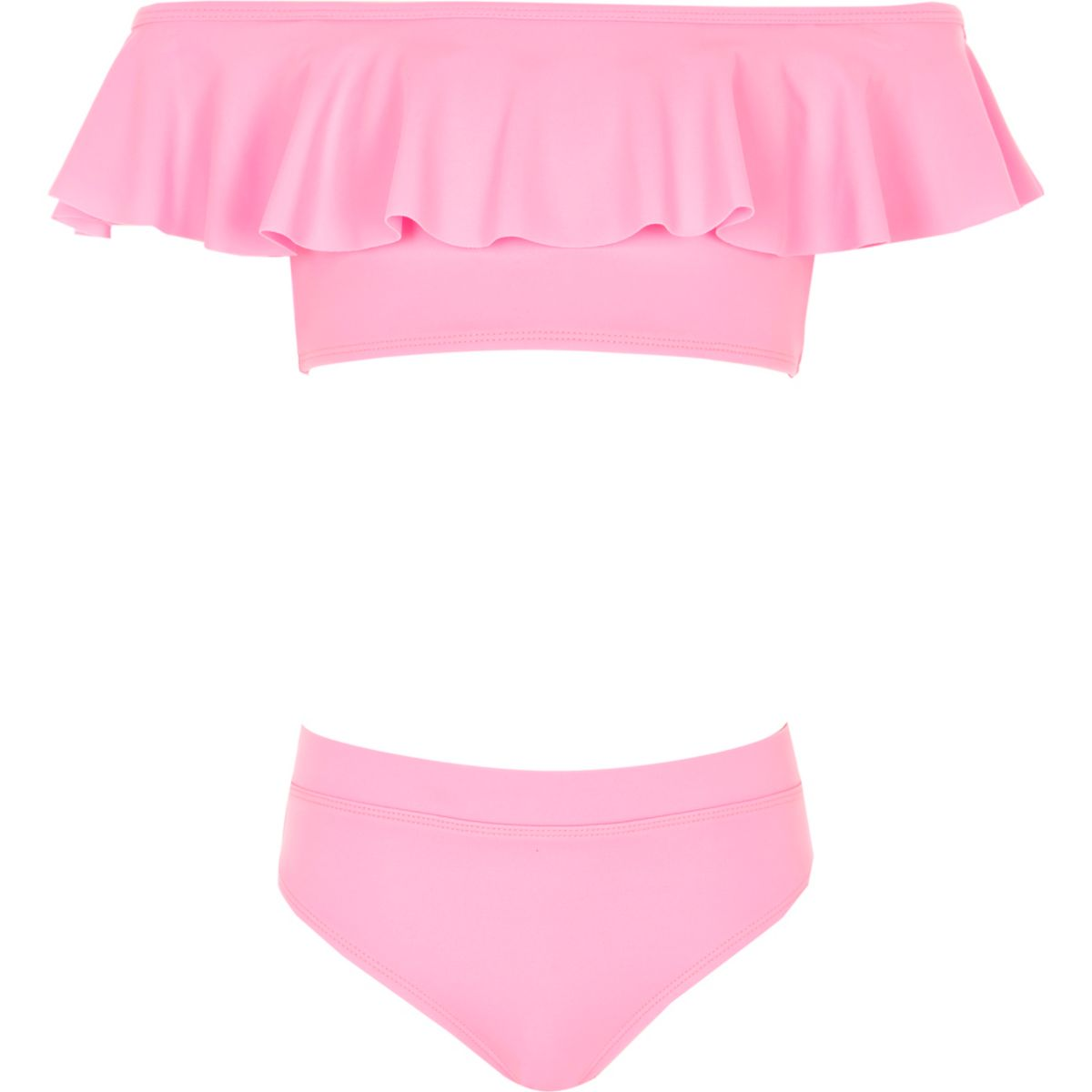 Girls pink bardot frill tankini