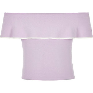 Girls purple knit frill bardot top