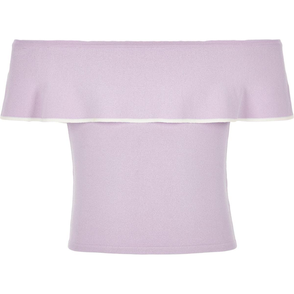 Girls purple knit frill bardot top