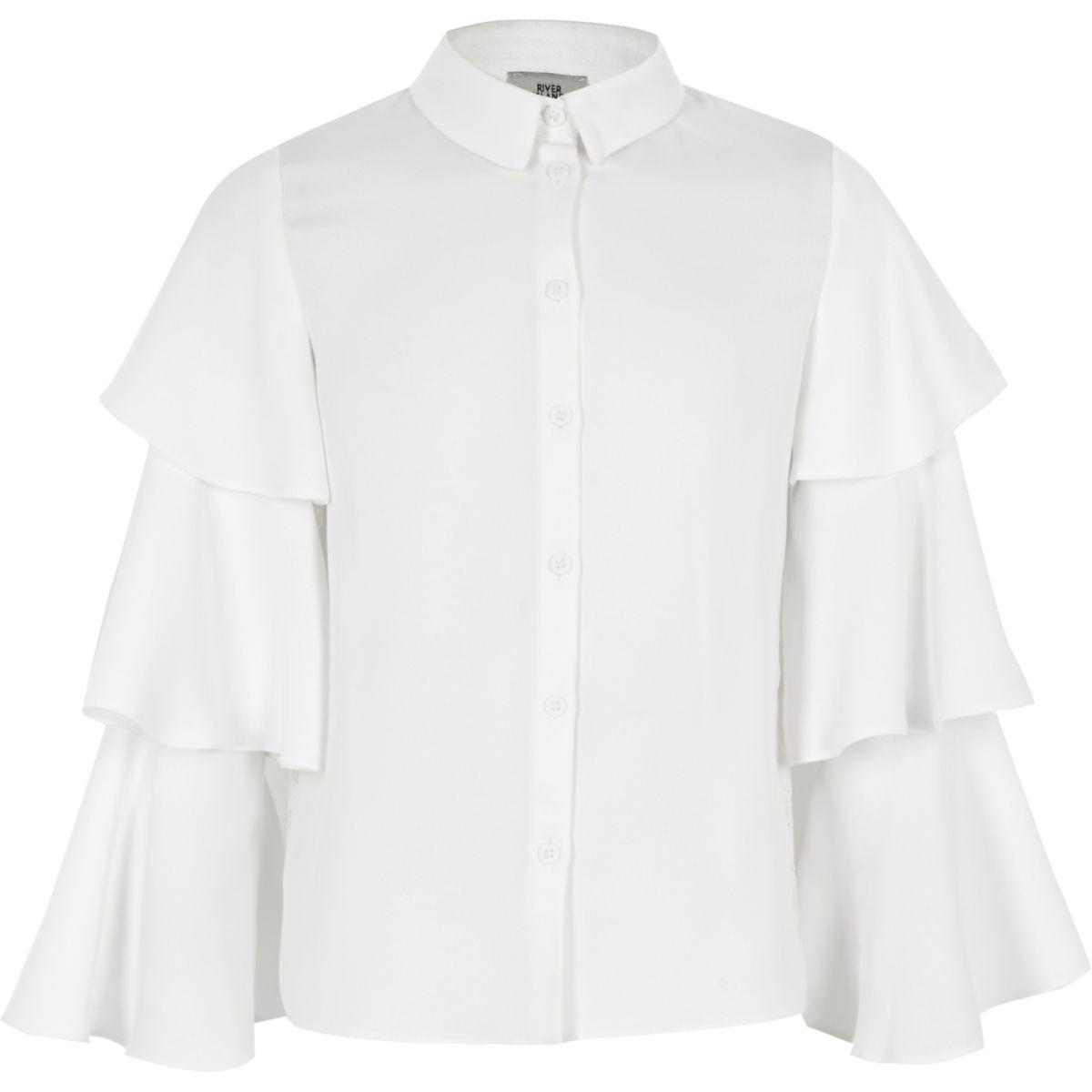 Girls cream frill sleeve shirt