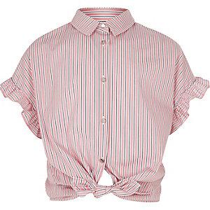 Roze gestreept overhemd met ruches aan de mouwen voor meisjes