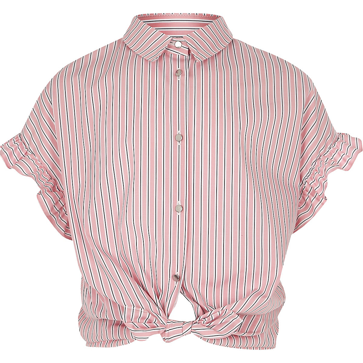 Chemise rayée rose avec manches à volants fille