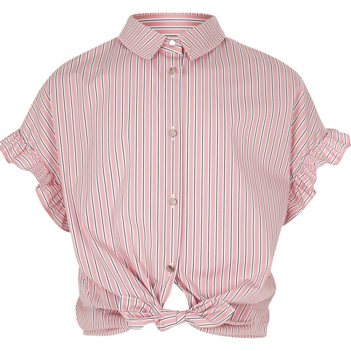 Girls pink stripe frill sleeve shirt