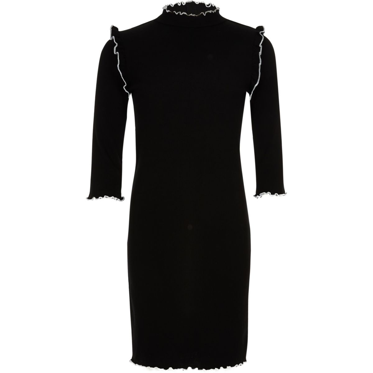 Girls grey ribbed high neck dress