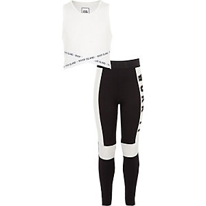 Ensemble avec crop top blanc « work it » pour fille