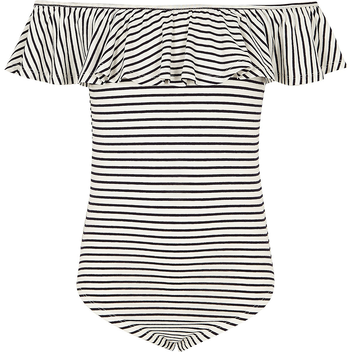 Girls navy stripe ruffle bardot bodysuit
