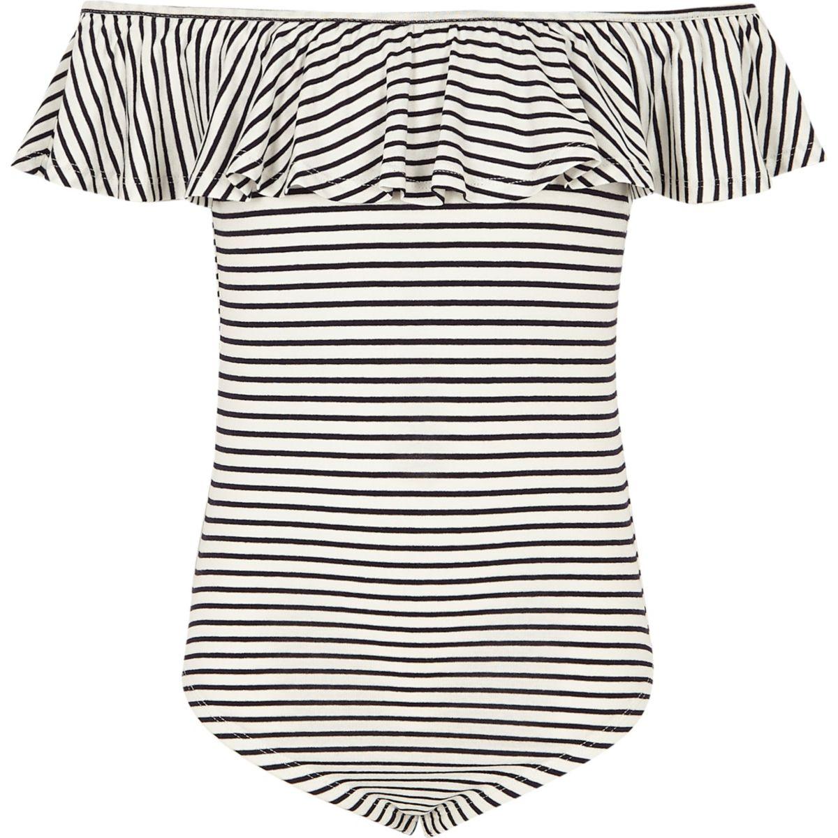 Girls navy stripe ruffle bardot bodysuit