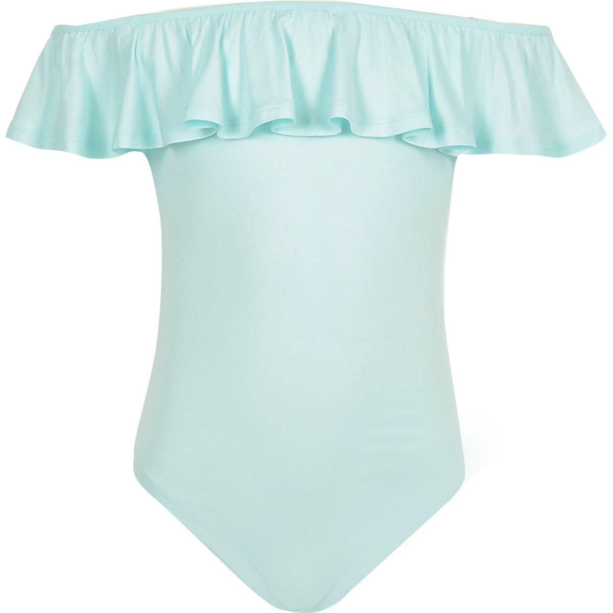 Girls light green ruffle bardot bodysuit