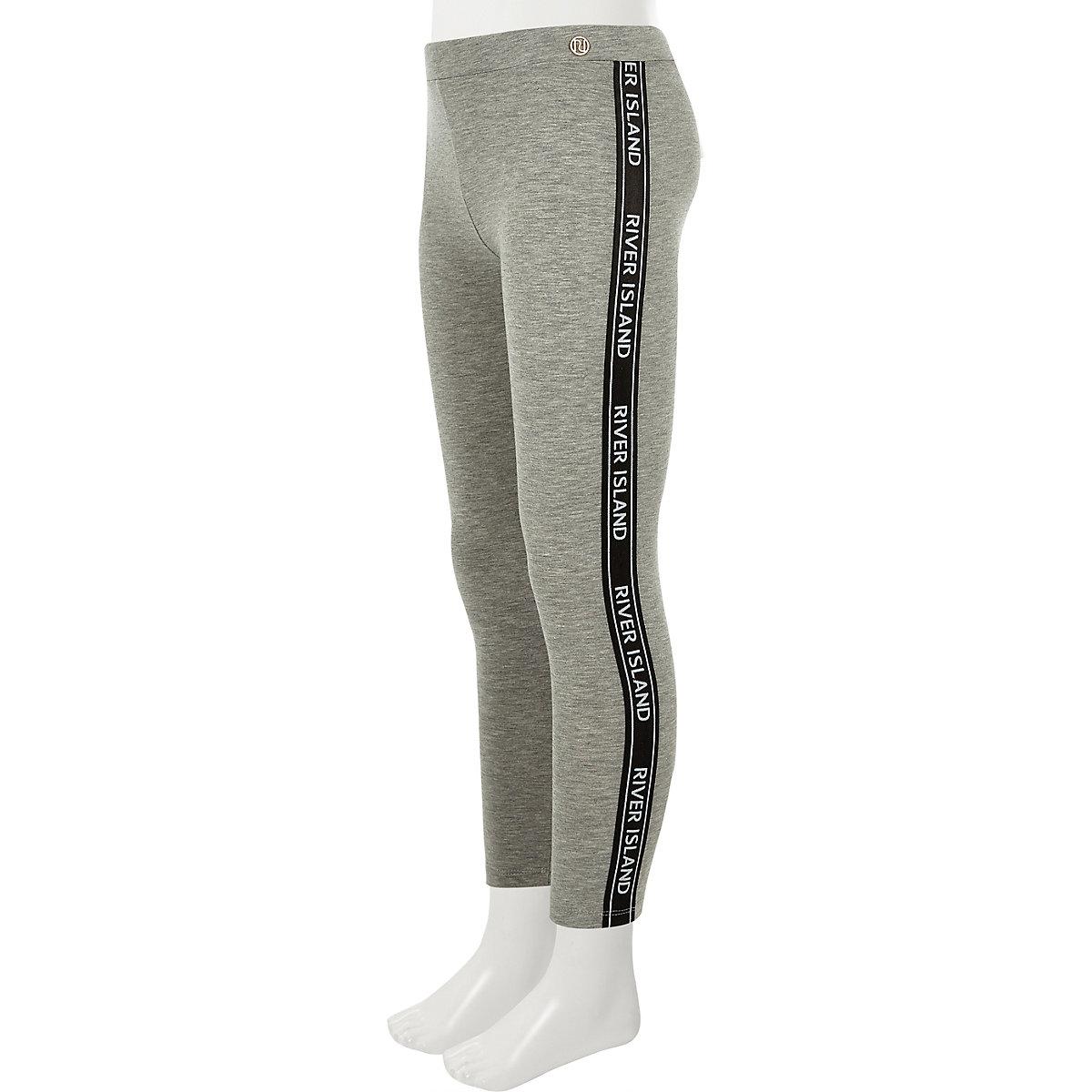 Girls grey RI tape leggings