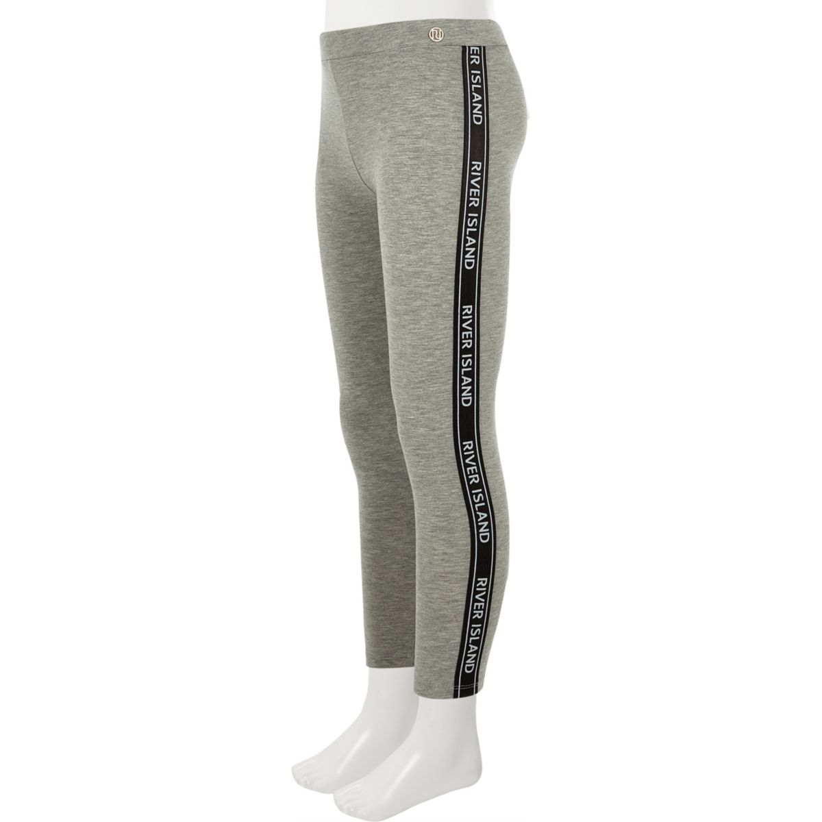 Girls grey RI tape leggings