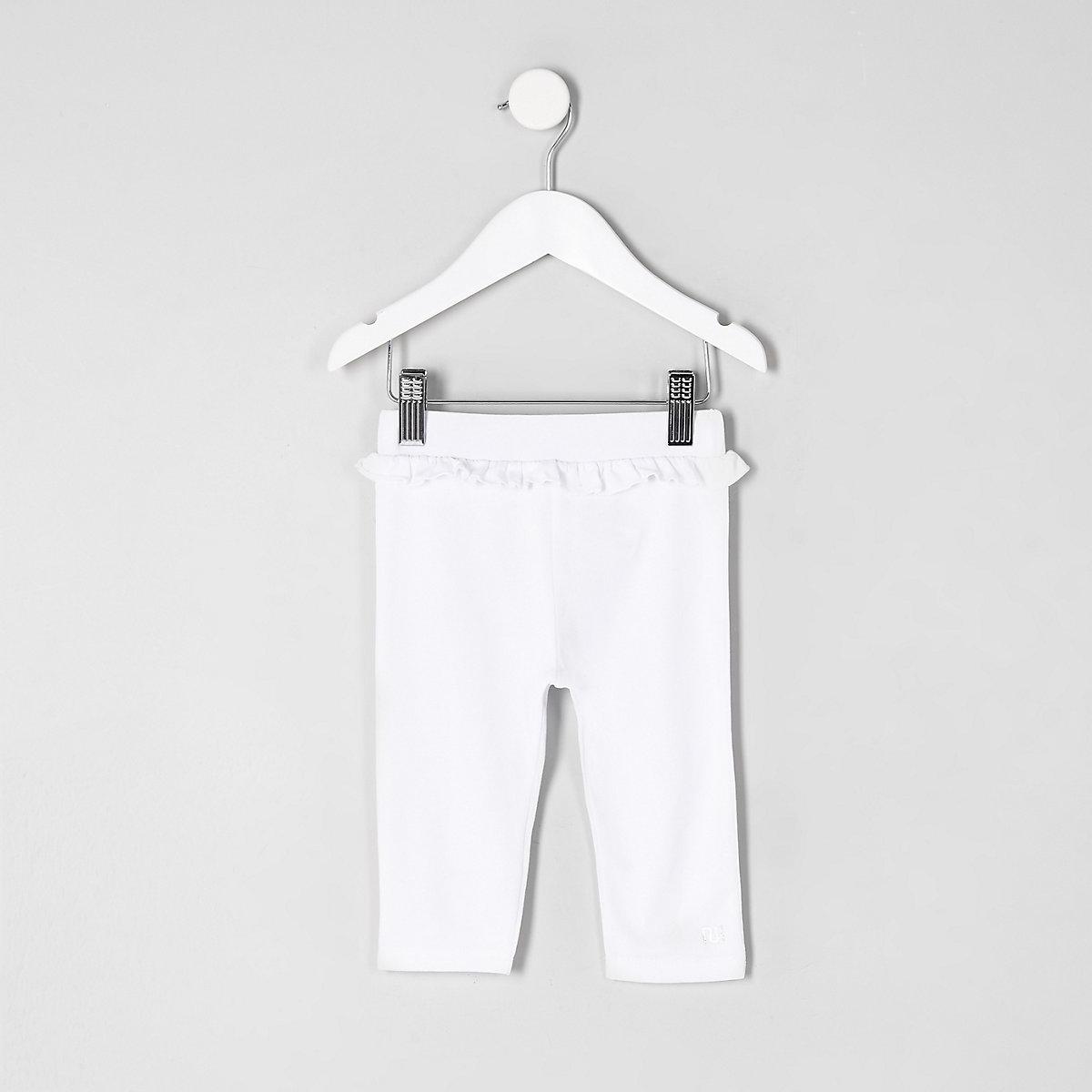 Legging court blanc à volants à la taille mini fille - Leggings bébé ... 52d6a9e42b3