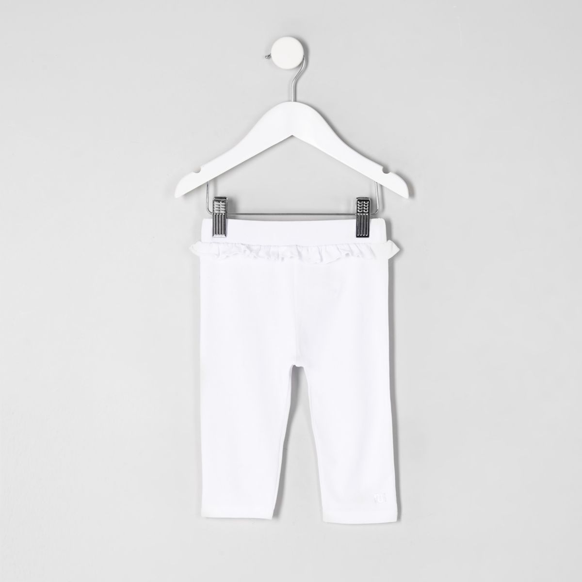 Mini girls white ruffle waist crop leggings