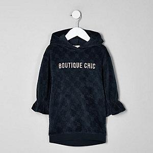 Robe pull bleu marine en velours à imprimé RI mini fille