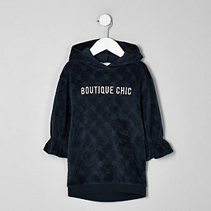 Mini - Marineblauwe fluwelen sweaterjurk met RI-print voor meisjes