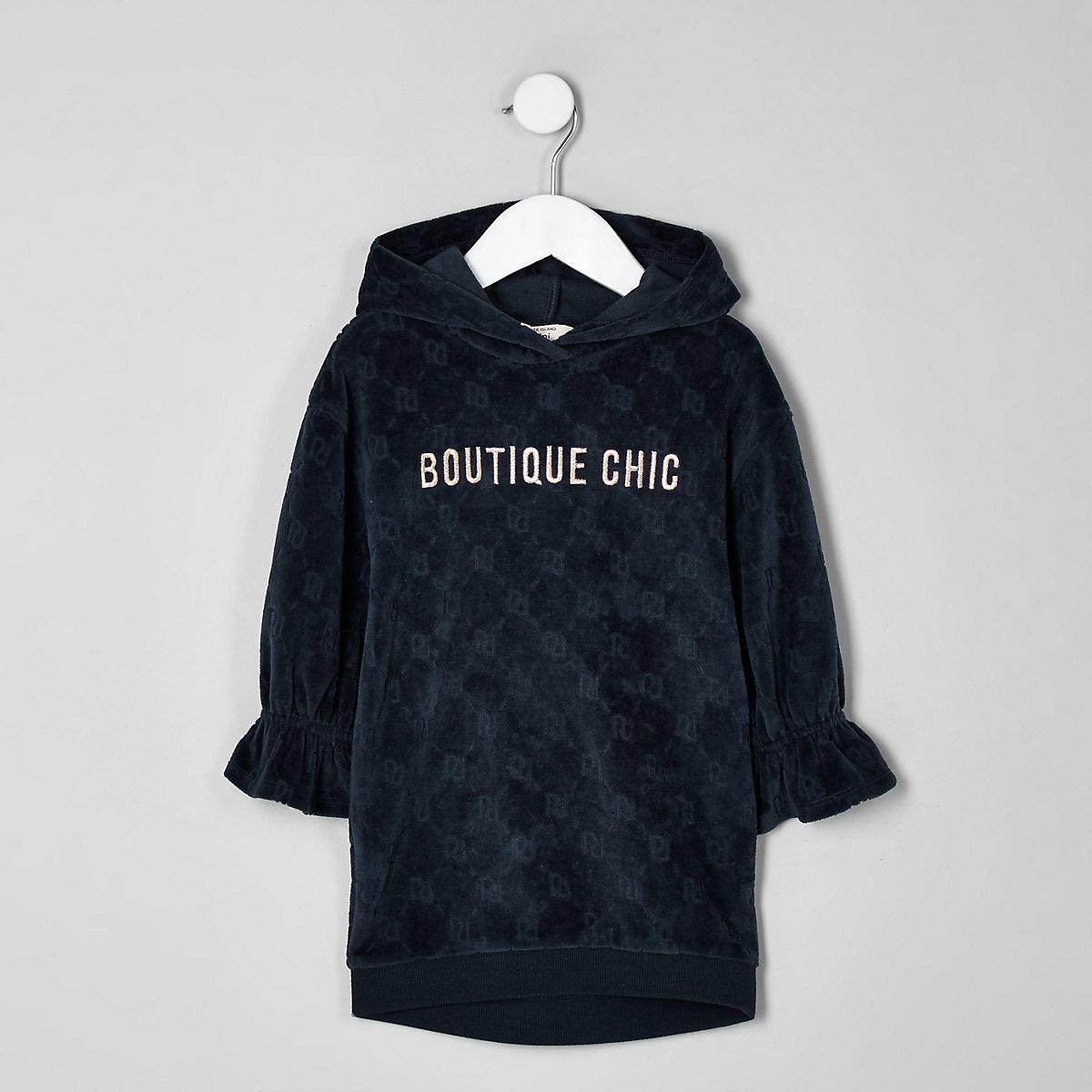 Mini girls navy RI printed velvet sweat dress