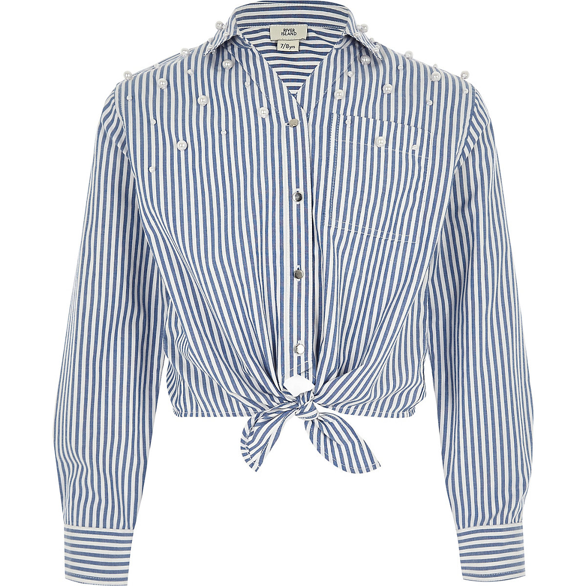 Girls blue stripe pearl tie front shirt
